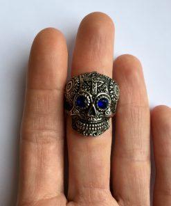 Skull ring heren bovenaanzicht